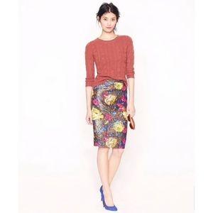 J.Crew Collection No 2 pencil skirt floral brocade